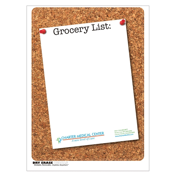 Cork Stock Art Full Color Dry Erase Decals w/ Grocery List