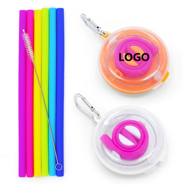 Silicone Collapsible Straw w/Brush Travel Case