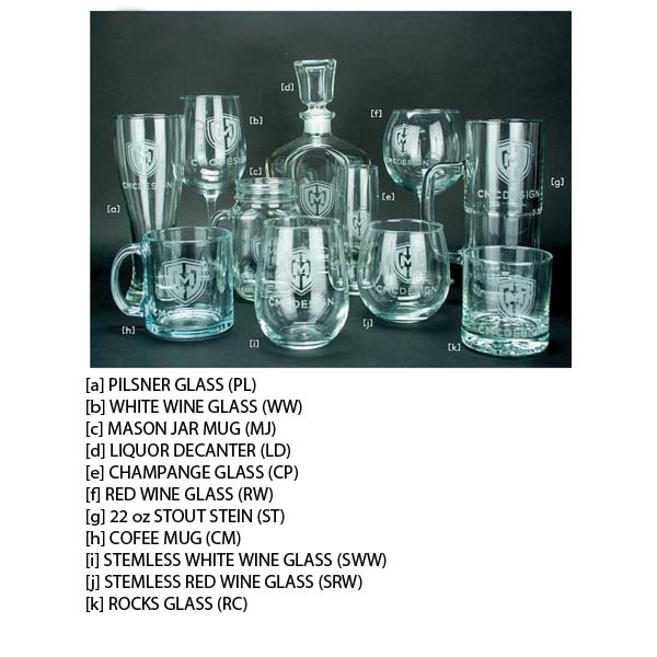 Etched Glasses - Champagne Glass (Stemless Flute)