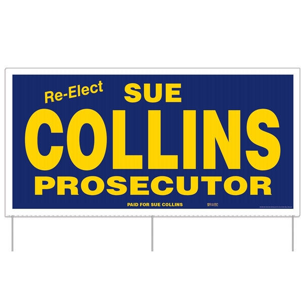 """Corrugated Plastic Sign w/ 3 Rods: 2 Colors/1 Side (24""""x48"""")"""