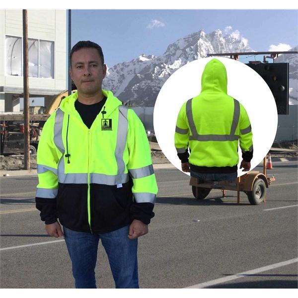 ANSI Class 3 Safety Full-Zip Fleece sweater Hoodie Black