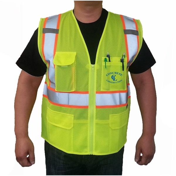Premium ANSI 107-2015 Class 2 Mesh 2-Tone Safety Vest