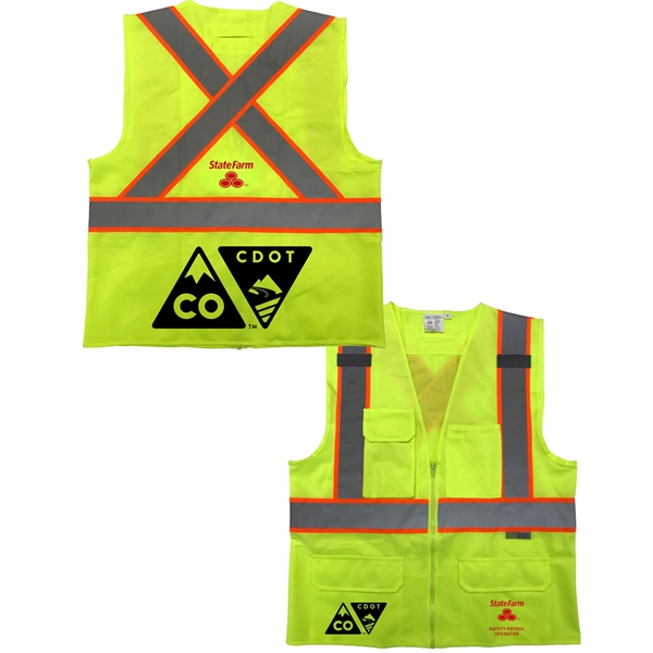 Premium Solid Class 2 Safety vest w/ Reflective X & Pockets
