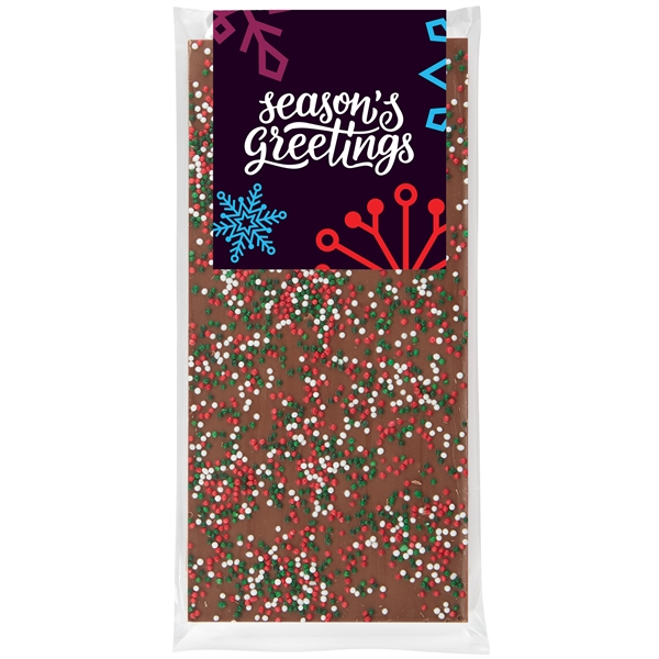 Belgian Chocolate Bar - Holiday Nonpareil Sprinkles - 3.5 oz