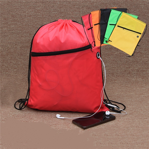 Fun Style Two-Tone Sports Drawstring Pack Front Zipper