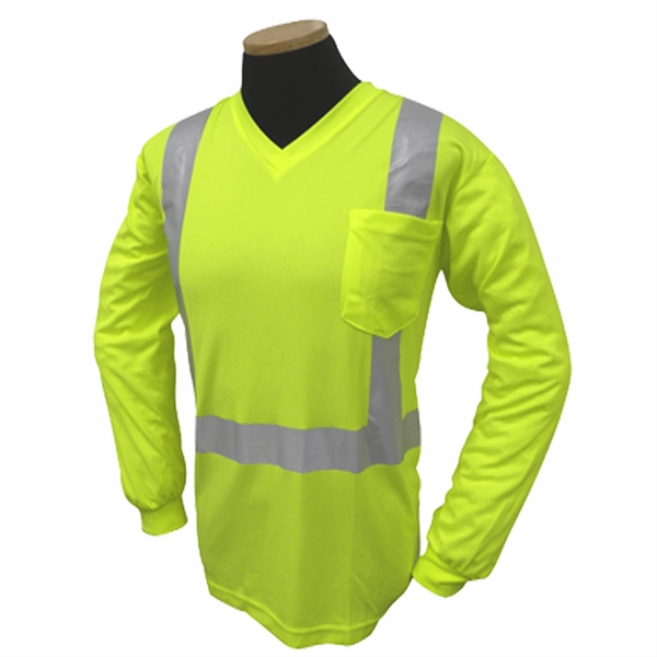 Hi Vis Long Sleeve V Neck Pocket T-Shirt, Class 2