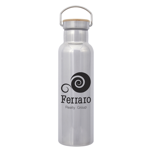 21 Oz. Shiny Liberty Stainless Steel Bottle With Bamboo Lid