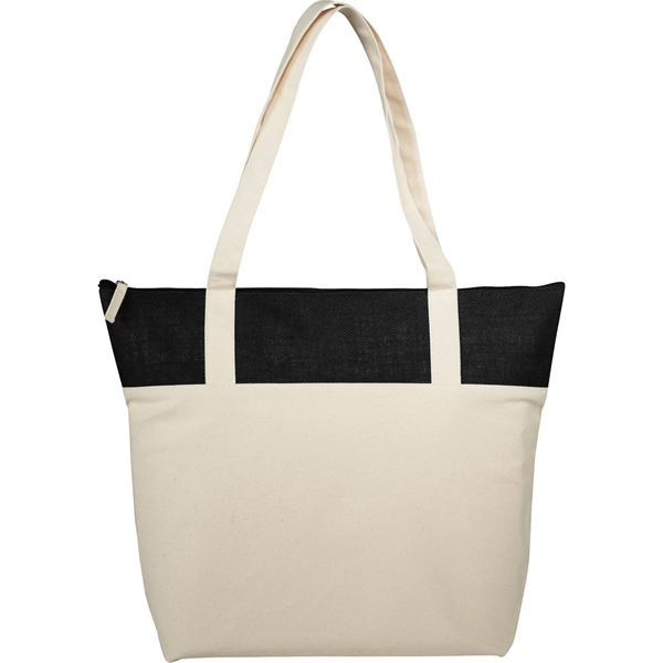 Jute Accent 10oz Cotton Canvas Zippered Tote