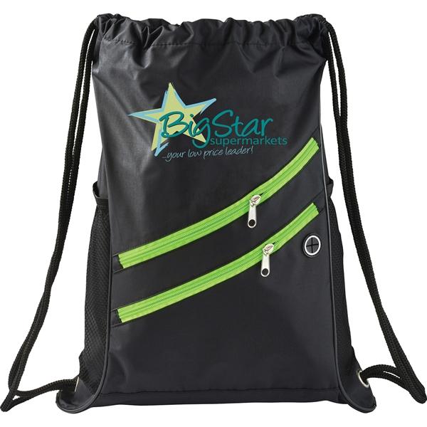 Two Zipper Deluxe Drawstring Bag