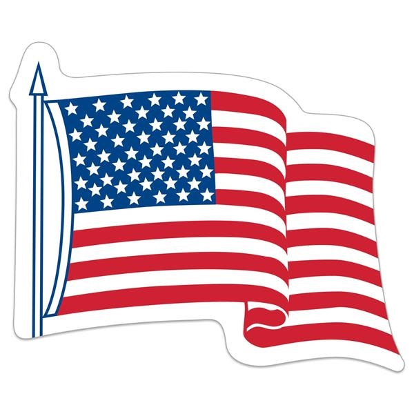 "White Vinyl U.S. Flag Removable Adhesive Decal (3 1/4""x4"")"