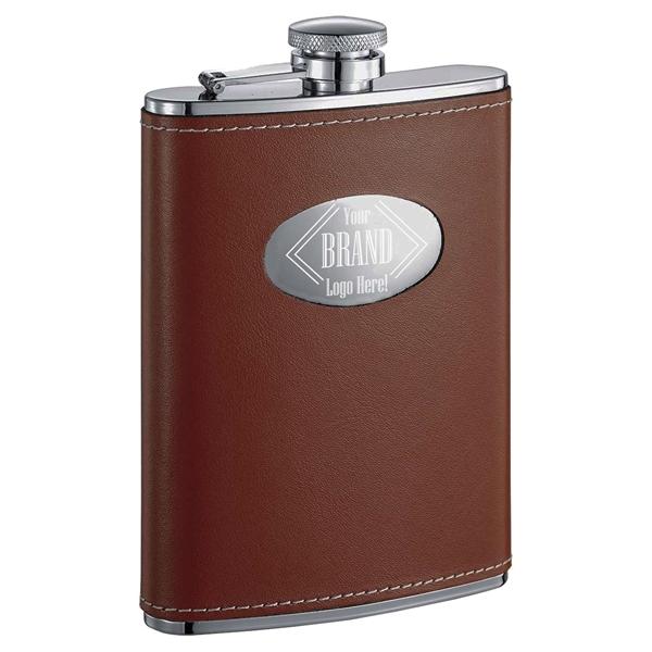 Visol Bobcat Brown Leather Liquor Flask - 8 ounces