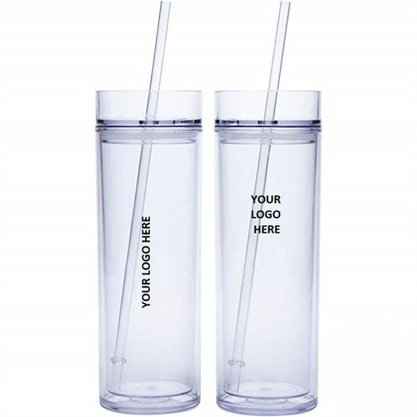 Double Wall Acrylic Tumbler w/ Lid & Straw 16 oz