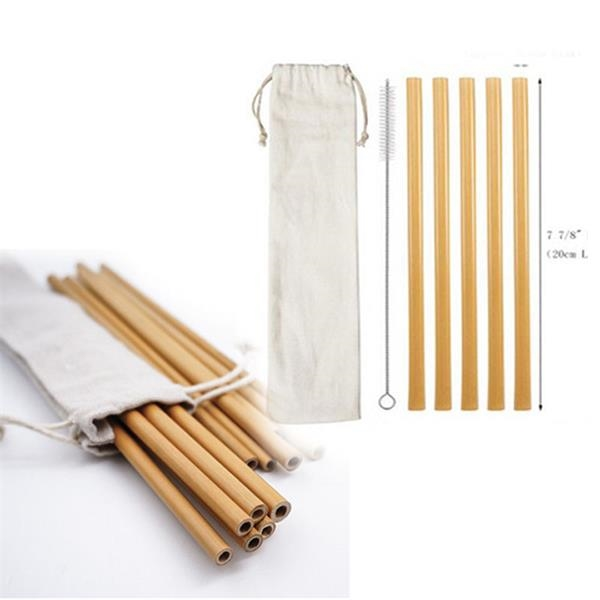 5pcs Reusable Bamboo Drinking Straw W/ Cleaning Brush In Ca
