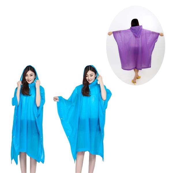 EVA Reusable Hooded Rain Poncho