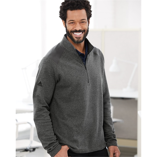Adidas Heathered Quarter Zip Pullover with Colorblocked S...