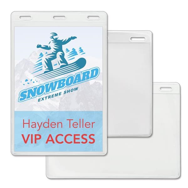 Large Event Size Vinyl Badge Holders with 3 Slots