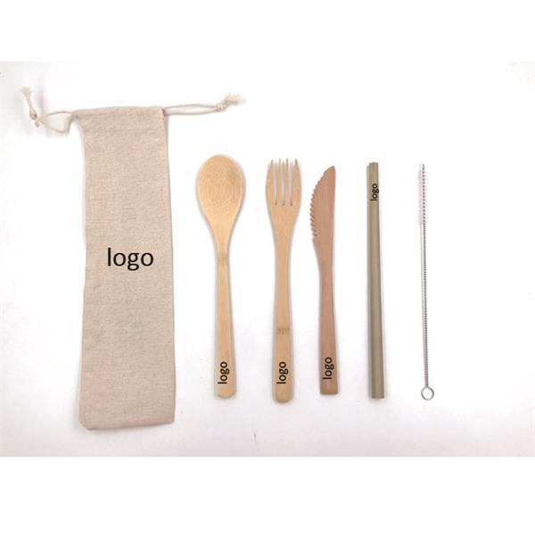 Bamboo Utensil Set with straw into Jute Bag