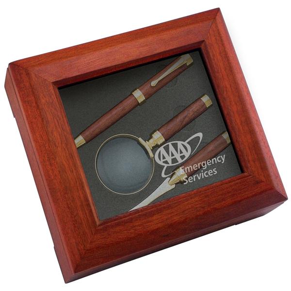 Desk Stationery Gift Box Set-Pen, Magnifier, Letter opener