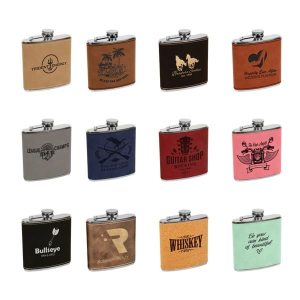Leatherette Wrapped 6 oz. Stainless Steel Flask