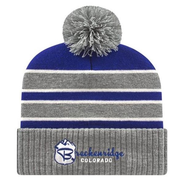 In Stock Double Stripe Knit Cap with Ribbed Cuff
