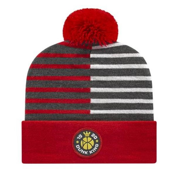 In Stock USA Made Half Color Knit Cap with Cuff