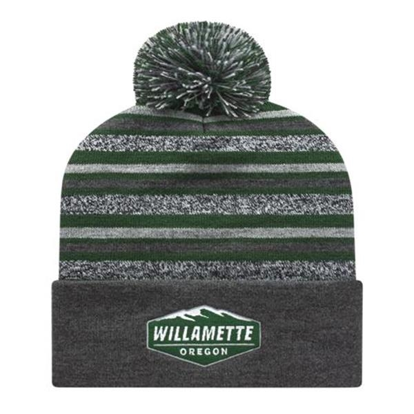 In Stock USA Made Striped Knit Cap with Cuff