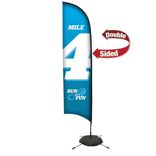 13' Premium Razor Sail Sign, 2-Sided, Scissor Base