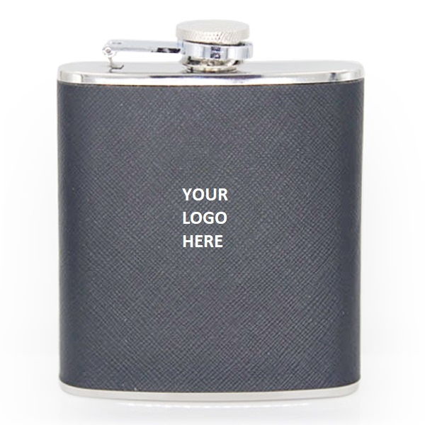 Leather Cover Stainless Steel Hip Flask 6oz