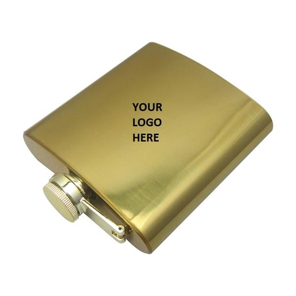 Gold Plated Color SS Hip Flask 6oz