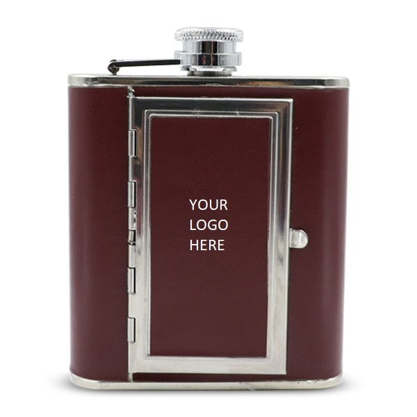 Leather Cover SS with Cigarette Case Hip Flask 5oz