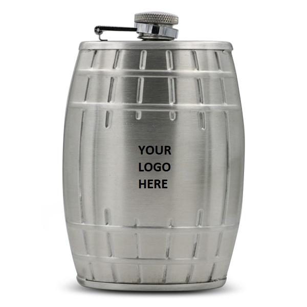 Barrel Design SS Hip Flask 6oz