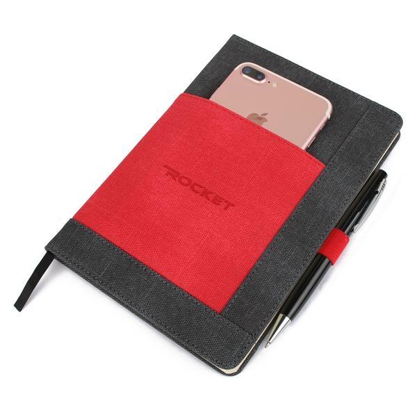 pen loop and external Wide Pocket PU Notebook