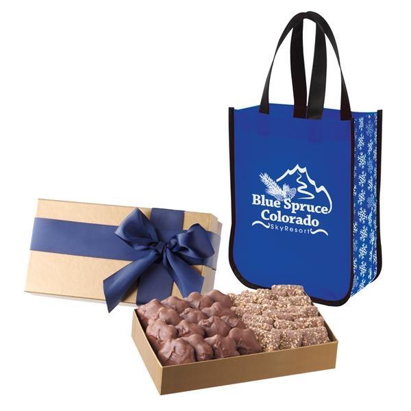 Executive Gift Set With Shiny Non-Woven Snowflake Tote Bag