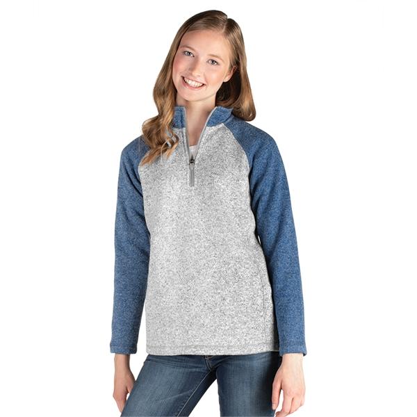 Women's Quarter Zip Color Blocked Heathered Fleece