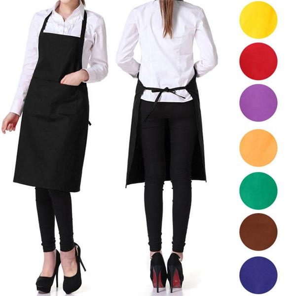 Solid Color Apron with 2 Pockets
