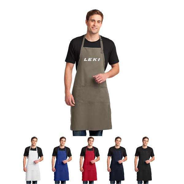 Easy Care Extra Long Bib Apron with Stain Release, Imprinted
