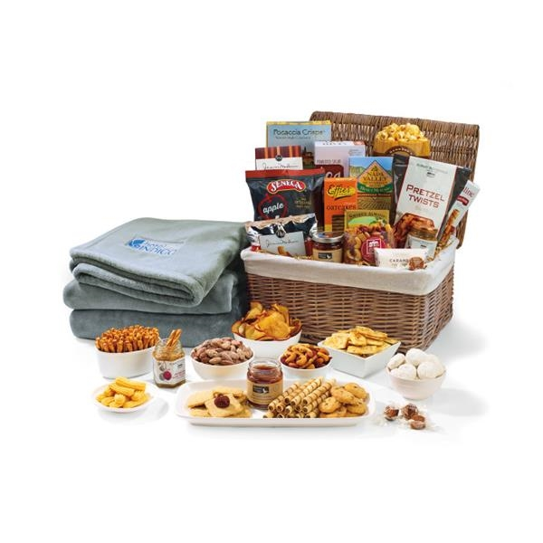 Gourmet Delights Basket with Serenity Throw