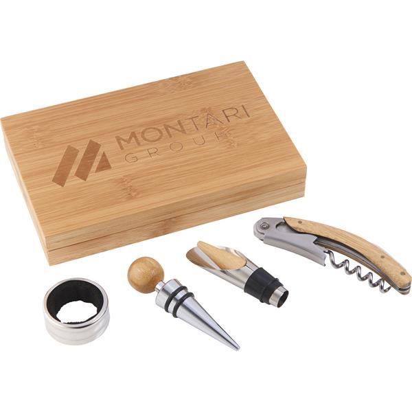 4 Piece Bamboo Wine Gift Set