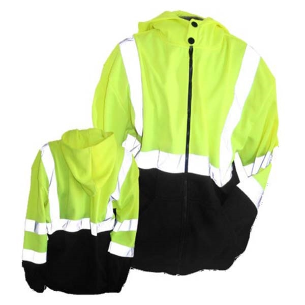 Lime Black Hooded Full Zip Class 3 Jacket