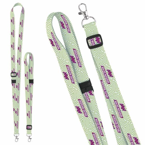 """3/4"""" Adjustable Polyester 4 Color Lanyard"""