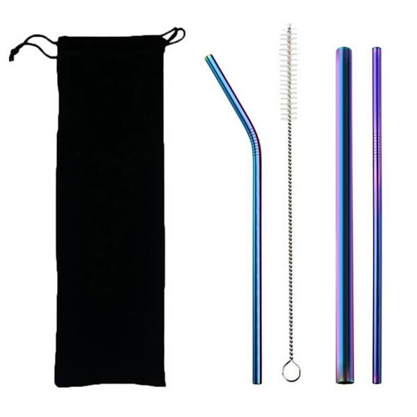 Stainless Steel Straw Set in Bag
