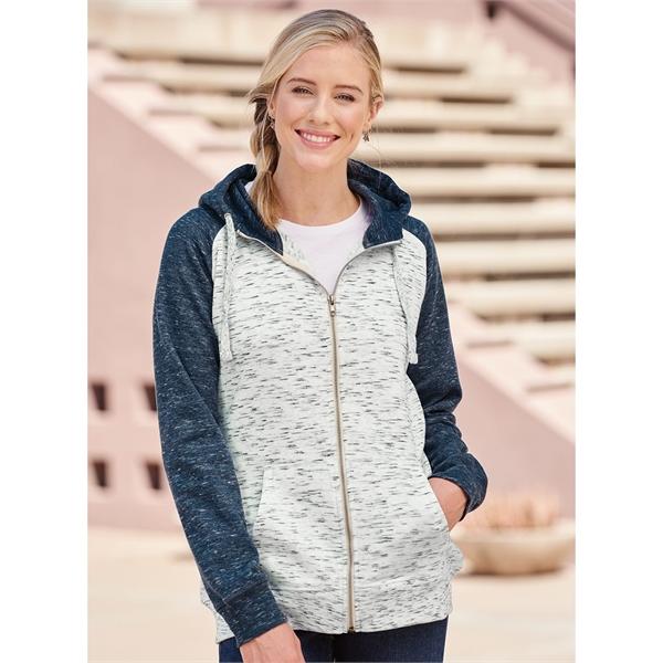 J. America Women's Melange Fleece Colorblocked Full-Zip S...