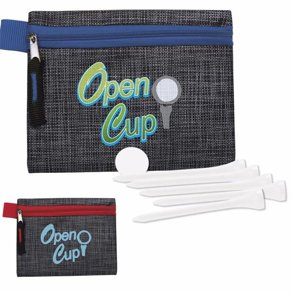 "Golf Tee Kit - 2-3/4"" with Printed Non-woven Pouch"