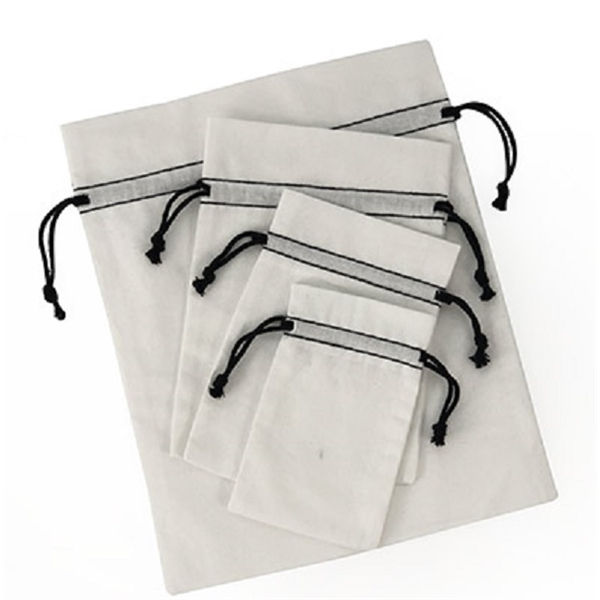 12 Pack Bleached White Cotton Pouch W/Black Cords