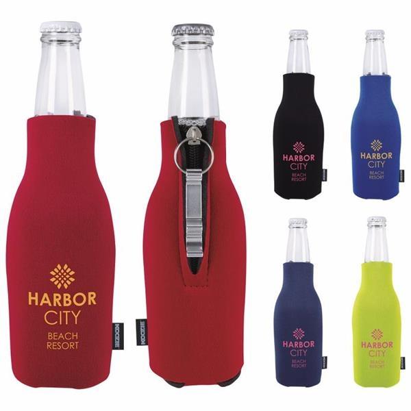 Zip-Up Bottle Koozie®Kooler with Opener