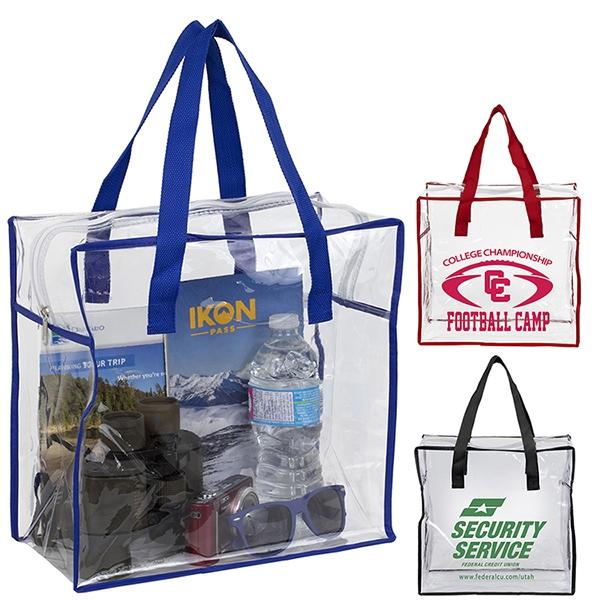 Arete Clear Vinyl Stadium Compliant Tote Bag with Zipper