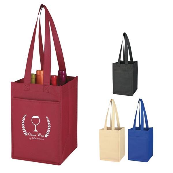 Non-Woven 4 Bottle Wine Tote Bag