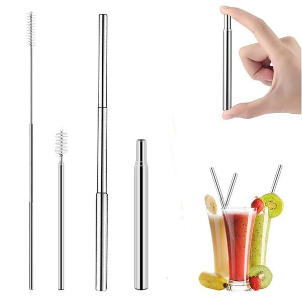 Reusable Telescopic Stainless Steel Straw Kit