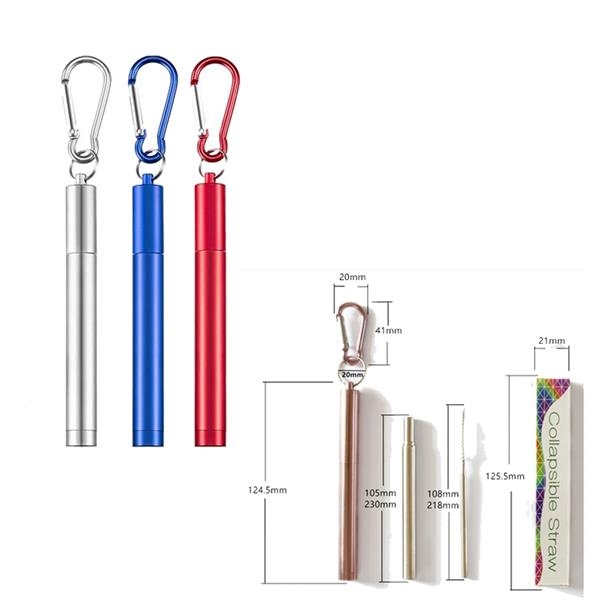 Stainless Steel Collapsible Straw with Carabiner,Reusable