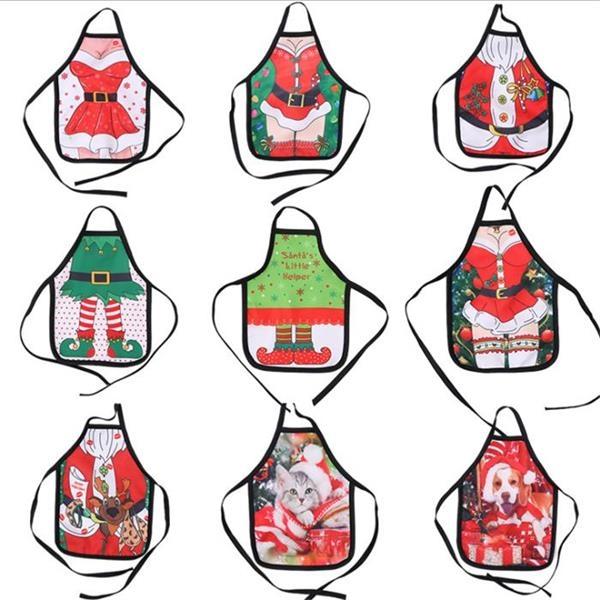 Christmas Apron Wine Bottle Cover Set